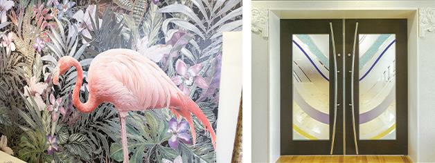 大きな壁紙への絵画のような繊細な色表現や、ガラス用フィルムにより、すりガラス風や凹凸のある透明プリント、カラーグラデーションなども自在に表現できる。
