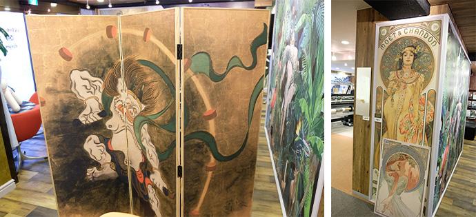 同社がライセンスを持つ国内外の芸術作品の数々を壁紙やパーティションなどで大きく楽しめる