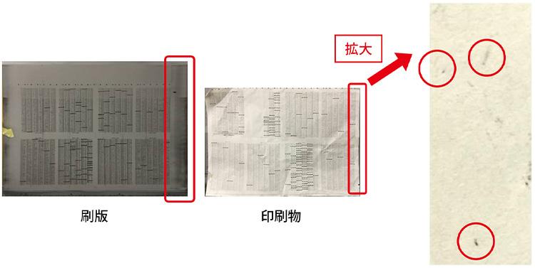 過乳化による印刷汚れ(両サイドで余ったインキの過乳化)