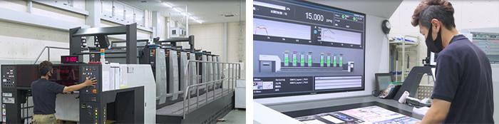 完全無処理CTP+LED-UV印刷機を操作している画像