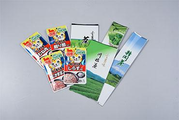 『FUJI・M・O®』で印刷したキャットフードのレトルトパウチとお茶のパッケージ